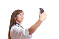 Der Doktor tut das selfie Stockfoto