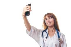 Der Doktor tut das selfie Lizenzfreie Stockfotografie