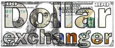 Der Dollarwortaustauscher, der mit Buchstaben gemacht werden und der Hintergrund USD berechnen Wiedergabe Stockbilder