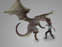 Der Drache und der Ritter Stock Abbildung