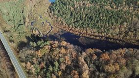 Der Draufsicht-Ansicht 4K UHD Gauja-Fluss Lettland-Luftbrummens Video stock footage