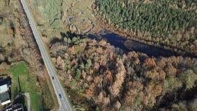 Der Draufsicht-Ansicht 4K UHD Gauja-Fluss Lettland-Luftbrummens Video stock video footage