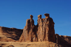 Der drei Klatsch, Bögen Nationalpark, Utah Stockbilder