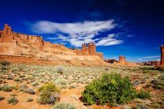 Der drei Klatsch an den Bögen Nationalpark, Utah, USA Stockbilder