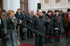 Der Ehrengast Valentina Matvienko, einer der berühmtesten zeitgenössischen weiblichen Politiker Lizenzfreie Stockfotografie