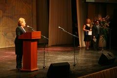 Der Ehrengast Valentina Matvienko, einer der berühmtesten zeitgenössischen weiblichen Politiker Stockbild
