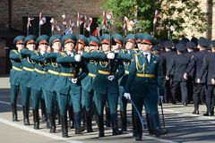 Der Ehrenschutz von Innenministeriumtruppen von Russland Stockfotos