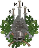Der Eichenkranz, ein Viking-Sturzhelm und zwei kreuzten Streitäxte, drei Klingen der Wikinger und Walknut mit Runen Lizenzfreies Stockbild