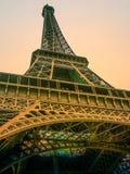 Der Eiffel-Sonnenuntergang bei Sonnenuntergang Stockbild