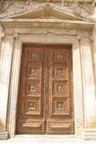 Der Eingang des Palastes von Charles V in Alhambra, Granada, Andalusien, Spanien Lizenzfreie Stockfotos