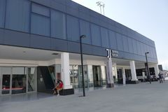 Der Eingang von Juventus-Museum nahe dem die Allianz-Stadion lizenzfreies stockfoto
