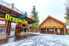 Der Eingang von Oregon-Zoo in Washington Park-Station am Winter Lizenzfreie Stockfotos
