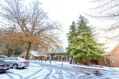 Der Eingang von Oregon-Zoo in Washington Park-Station am Winter Stockfotografie