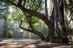 Der Eingang zum Hof eines Steinschlosses Stockfoto