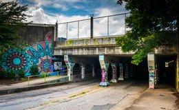 Der Eingang zum Krog-Straßen-Tunnel in Atlanta, Georgia lizenzfreie stockfotos