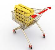 Der Einkaufswagen mit vollen Goldbarren Lizenzfreies Stockfoto