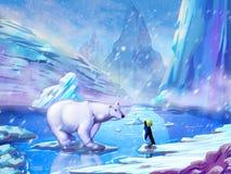 Der Eisbär und der Pinguin mit fantastischer, realistischer und futuristischer Art