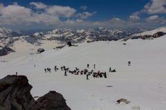 2014 07 der Elbrus, Russland: Klettern auf Berg Elbrus Stockfotografie