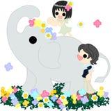 Der Elefant auf dem Blumengarten. Lizenzfreie Stockfotos