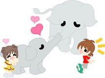 Der Elefant des Elternteils und des Kindes Stockfotografie