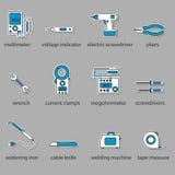 Der Elektrikerwerkzeug-Ikonensatz Stockfotos