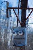 Der elektrische Kasten ähnlich dem Gesicht des alten Roboters Stockbild