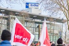 Der EnBW för Verdi Warnstreik —Kundgebung bei Royaltyfri Bild