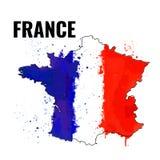 Der Entwurf des Frankreichs mit einer Aquarellflagge nach innen Auch im corel abgehobenen Betrag Lizenzfreie Stockbilder