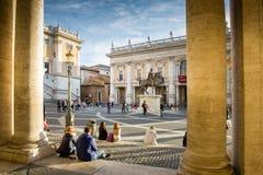 Der Entwurf des Marktplatzes Del Campidoglio und des umgebenden palazzi wurde vom Renaissancekünstler und vom Architekten Michela Lizenzfreie Stockfotografie