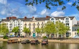 Der Erdre-Fluss in Nantes, Frankreich stockfotos