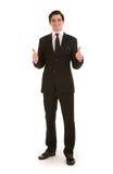 Der erfolgreiche Geschäftsmann, der ein Doppeltes gibt, greift oben ab Stockfoto