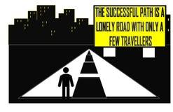 Der erfolgreiche Weg ist eine einsame Straße mit nur einigen Reisenden vektor abbildung