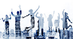 Der Erfolgs-Geschäftsleute Aufregungs-Victory Achievement Concept Stockbild