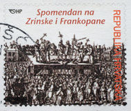 Der Erinnerungsstempel, der dem Zrinski und dem Frankopan eingeweiht wurde, druckte in Kroatien Stockfoto