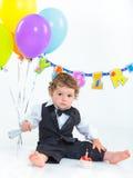 Der erste Geburtstag der Babys ein Jahr. Lizenzfreie Stockbilder