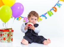 Der erste Geburtstag der Babys ein Jahr. Lizenzfreie Stockfotos