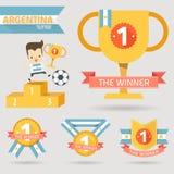 Der erste Preis des Siegers mit Argentinien-Flagge Stockbild