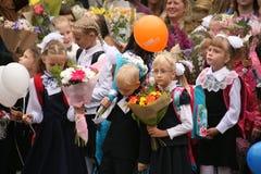 Der erste Ruf 1. September Wissens-Tag in der russischen Schule Tag des Wissens Erster Tag der Schule Stockfoto