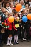 Der erste Ruf 1. September Wissens-Tag in der russischen Schule Tag des Wissens Erster Tag der Schule Lizenzfreies Stockfoto