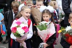 Der erste Ruf 1. September Wissens-Tag in der russischen Schule Tag des Wissens Erster Tag der Schule Stockbild
