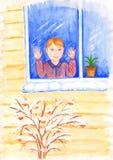 Der erste Schnee fiel Der Junge schaut gl?cklich heraus das Fenster Abbildung f?r Kinder lizenzfreie abbildung