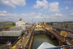 Der erste Verschluss des Panamakanals vom Pazifischen Ozean Lizenzfreies Stockbild