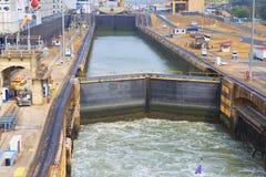 Der erste Verschluss des Panamakanals vom Pazifischen Ozean Lizenzfreie Stockfotografie