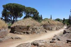 Der Etruscan-Friedhof von Cerveteri Stockbilder