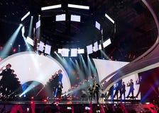 Der Eurovisions-Schlusstag Ukraine, Kyiv 05 13 2017 redaktionell ¡ Joci PÃ pai von Ungarn Stockfotos