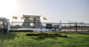 Der Fahnenmast-haus- Präsidentenpalast von Ghana stockbild