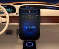 Der Fahrzeugkonsolenmonitor, der Bildschirmfoto des Computersystems zeigt, wurde zerhackt Konzept für Risiko des selbst-Fahrens d Lizenzfreie Stockfotografie