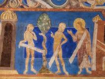 Der Fall von Adam und von Eve Ein mittelalterliches Wandgemälde Lizenzfreies Stockbild