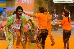 Der Farblauf 2014 in Kathmandu Lizenzfreies Stockfoto