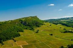 Der Felsen von Solutré und von Weinyard, Burgunder, Frankreich Stockbild